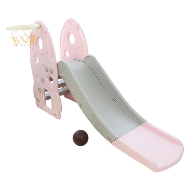 Cầu trượt cho bé Toyshouse hình tên lửa, có kèm khung bóng rổ HJ05 - Màu hồng