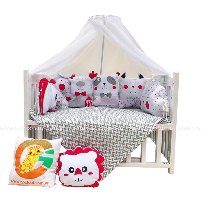 Combo cũi giường Gối Quây Thú (Đỏ, Không bánh xe)