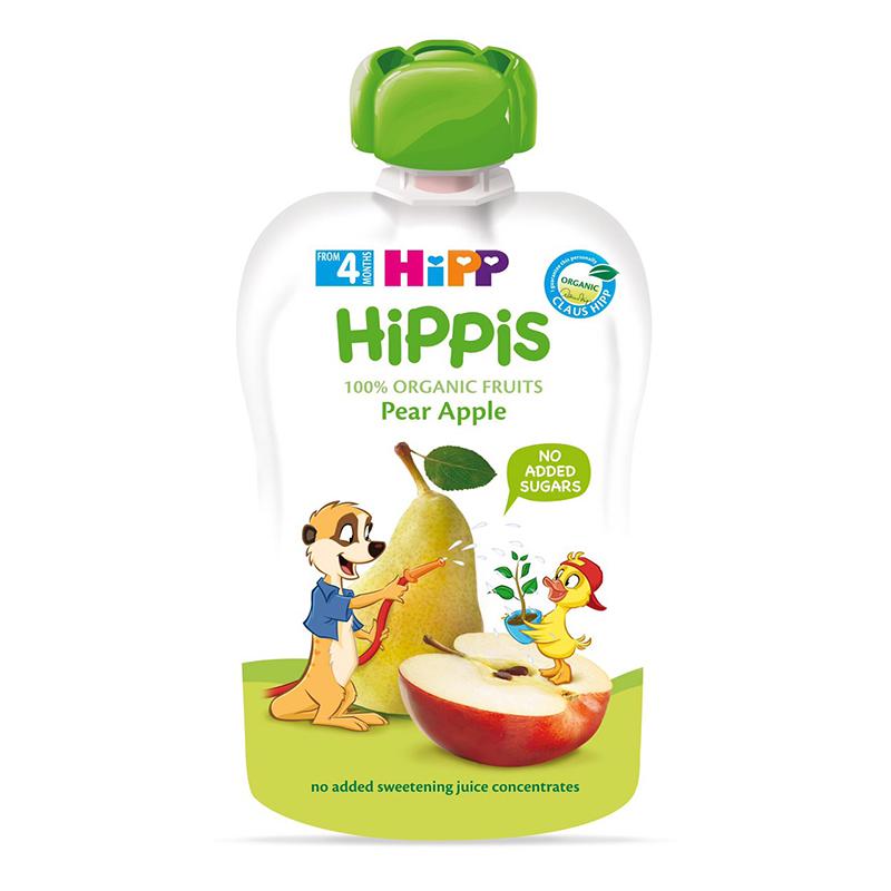 Dinh dưỡng 100% trái cây nghiền hữu cơ HiPPiS Organic (Táo, Lê, Chuối) 8520