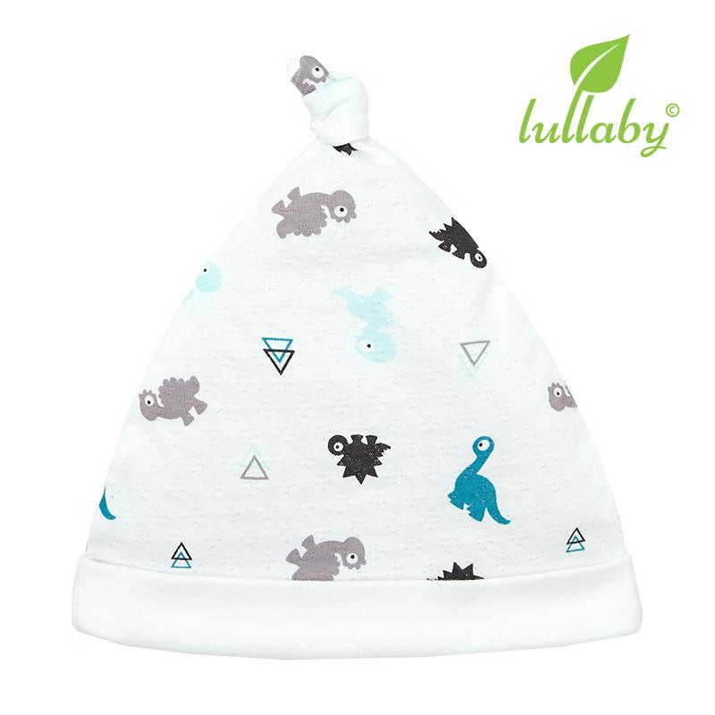 NH62B.3 - Mũ thắt nút Lullaby màu trắng họa tiết khủng long