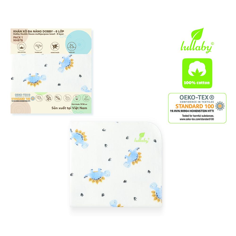 NH87B.2 - Khăn xô đa năng Dobby 6 lớp Lullaby màu trắng họa tiết khủng long
