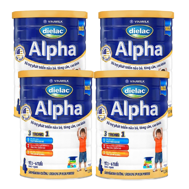 Set 4 lon Sữa bột Vinamilk Dielac Alpha 4 1500g (cho trẻ từ 2 - 6 tuổi)