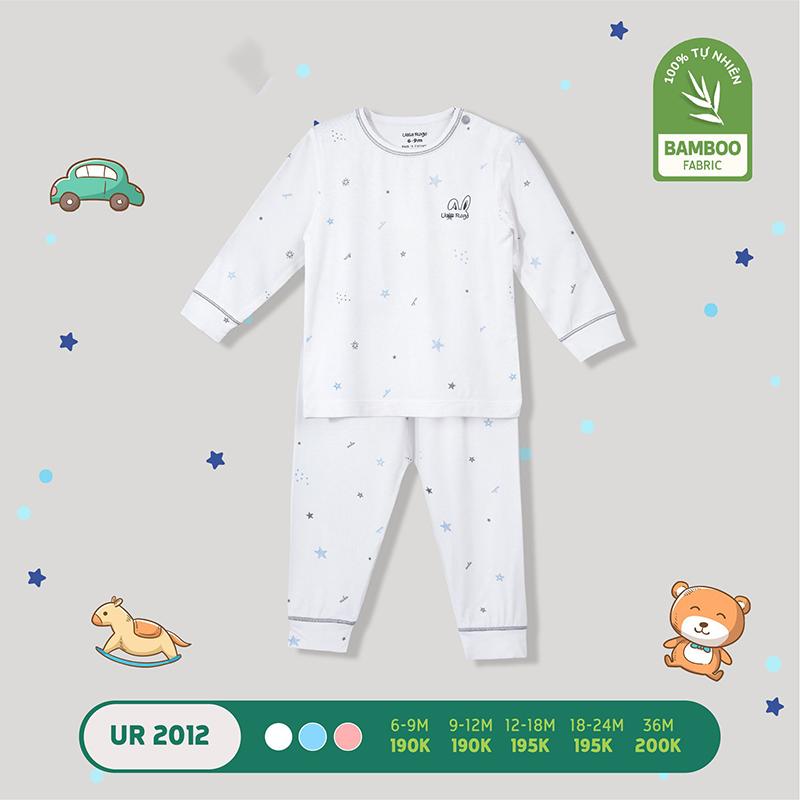 UR2012.3 - Bộ quần áo dài tay cài vai vải sợi tre Uala Rogo - Màu trắng
