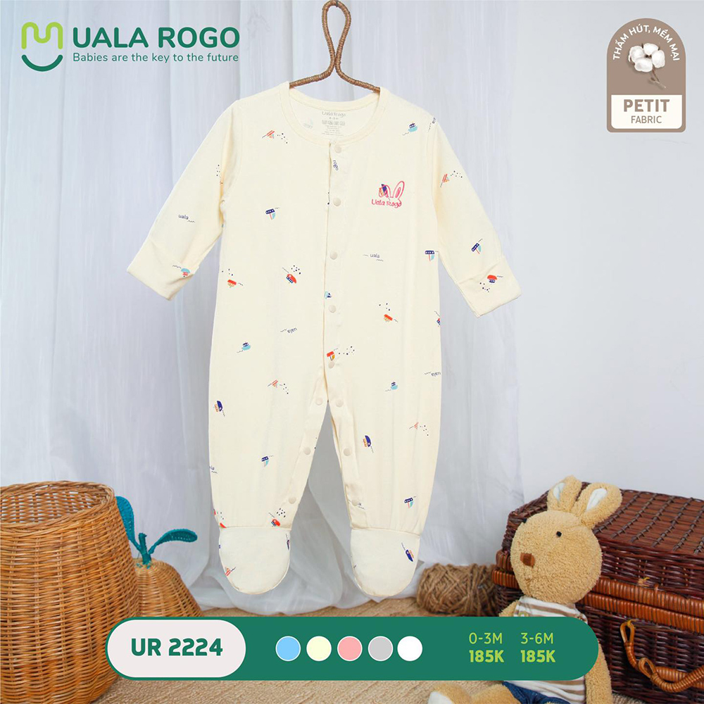 UR2224.4 - Bộ body dài vải petit Uala Rogo - Màu kem