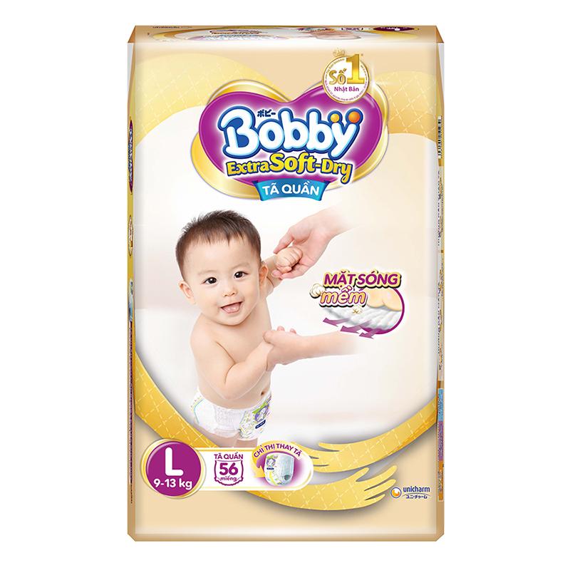 Bỉm - Tã quần Bobby Extra Soft-Dry size L - 56 miếng (9 - 13kg)