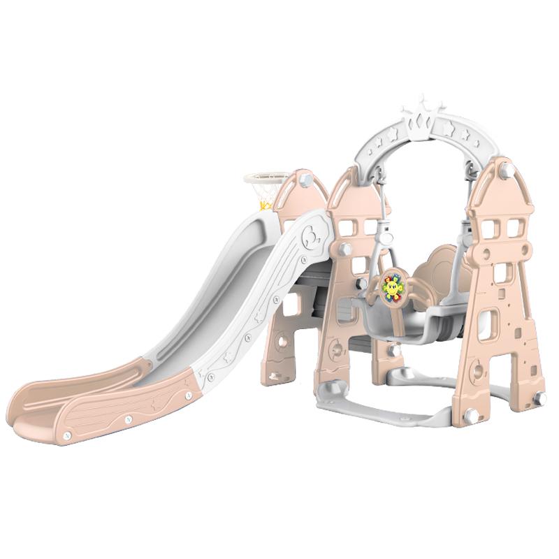 Cầu trượt cho bé Toyshouse kèm xích đu hình lâu đài, có nhạc và khung bóng rổ DT03