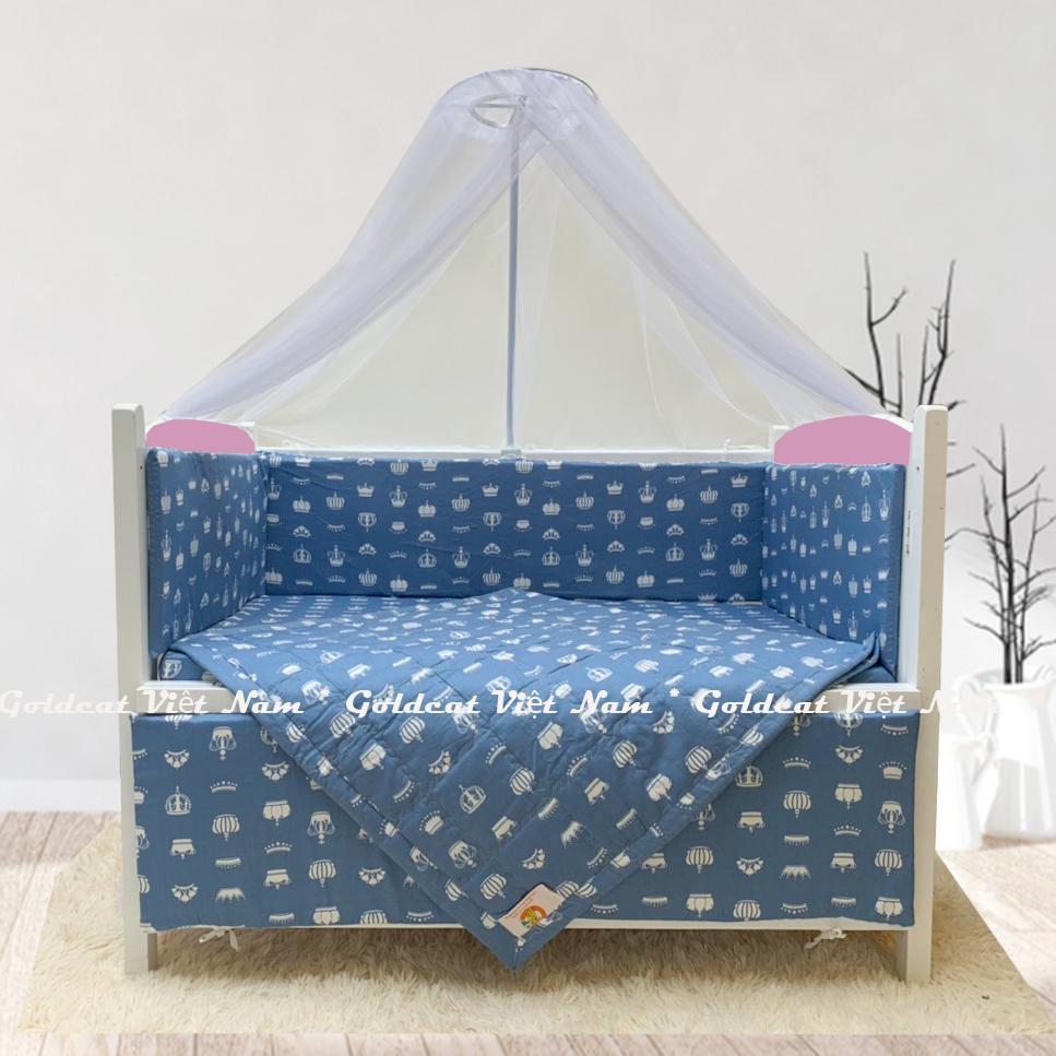 Combo cũi giường sơn Trắng Hồng GoldCat (Vương Miện Ghi, Không bánh xe)