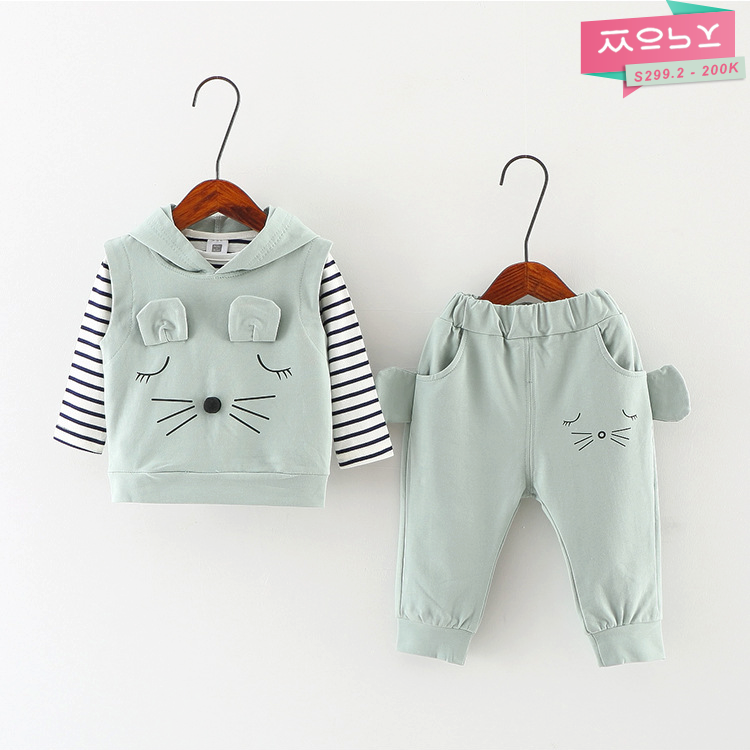 S299.2 - 200K - Set áo thun, áo khoác sát nách & quần bé gái 2018