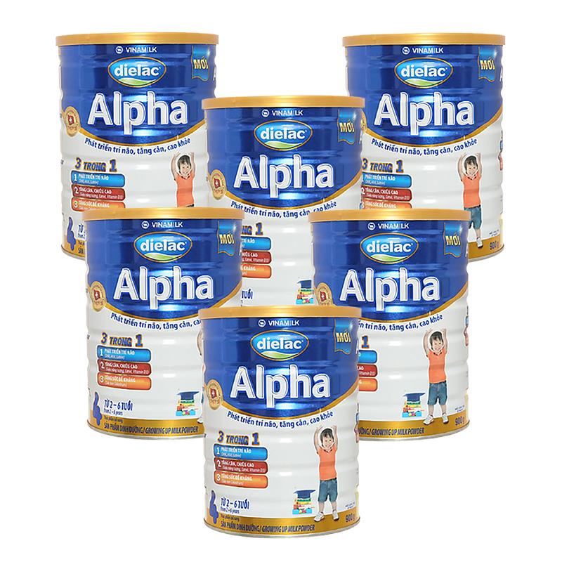 Set 6 lon Sữa bột Vinamilk Dielac Alpha 4 900g (cho trẻ từ 2 - 6 tuổi)
