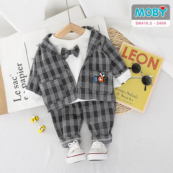 SN416.2 - Set áo vest, áo thun kèm nơ & quần cho bé
