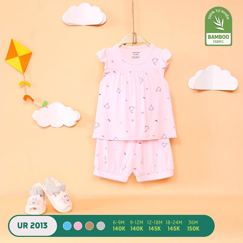 UR2013.4 - Bộ quần áo ba lỗ Uala Rogo vải sợi tre - Màu hồng
