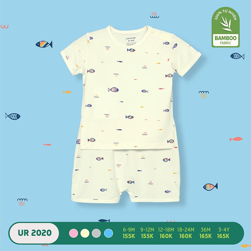 UR2020.2 - Bộ quần áo Uala Rogo cộc tay cài vai vải sợi tre - Màu kem