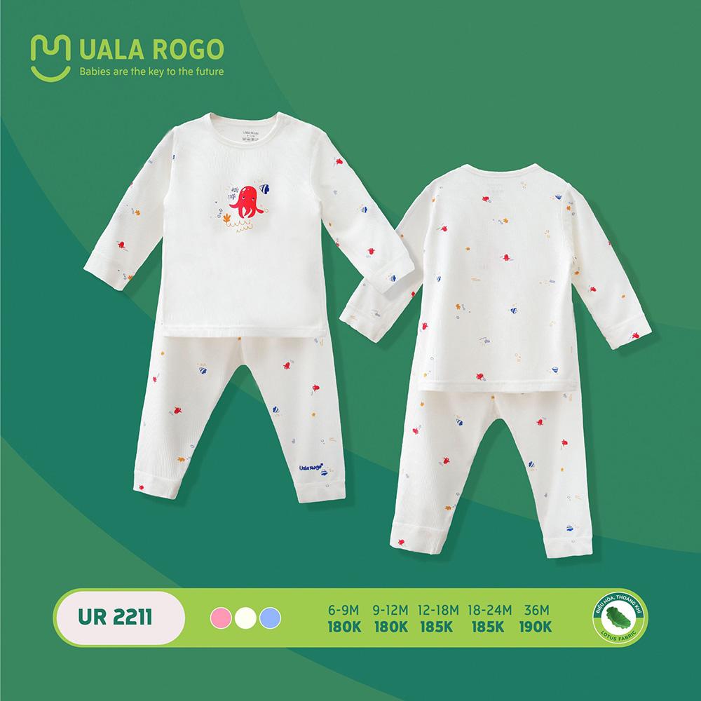 UR2211.2 - Bộ quần áo dài tay sơ sinh vải sợi sen Uala Rogo - Màu trắng