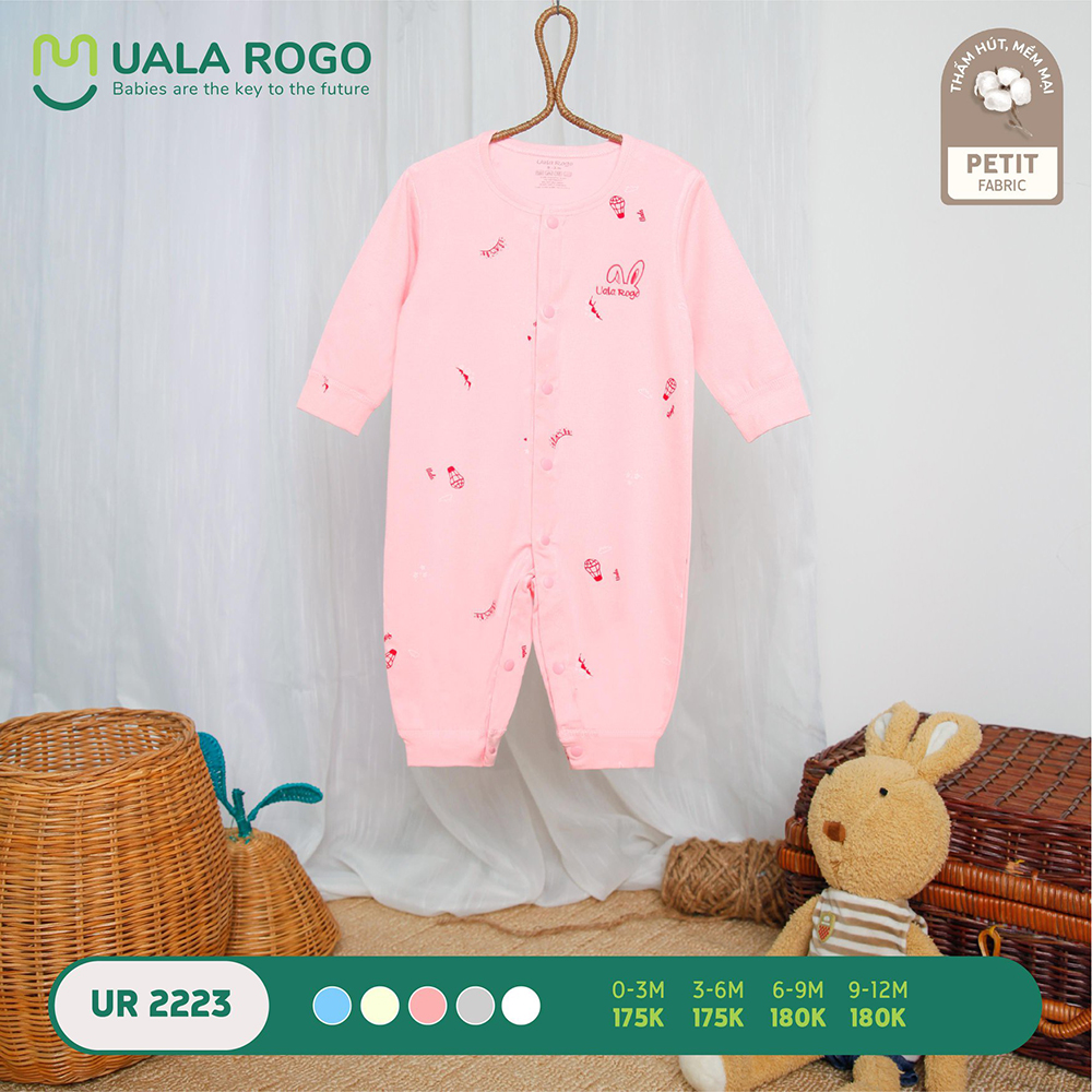 UR2223.5 - Bộ body dài vải petit Uala Rogo - Màu hồng