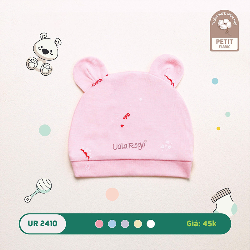 UR2410.3 - Mũ sơ sinh Uala Rogo tai gấu vải petit - Màu hồng