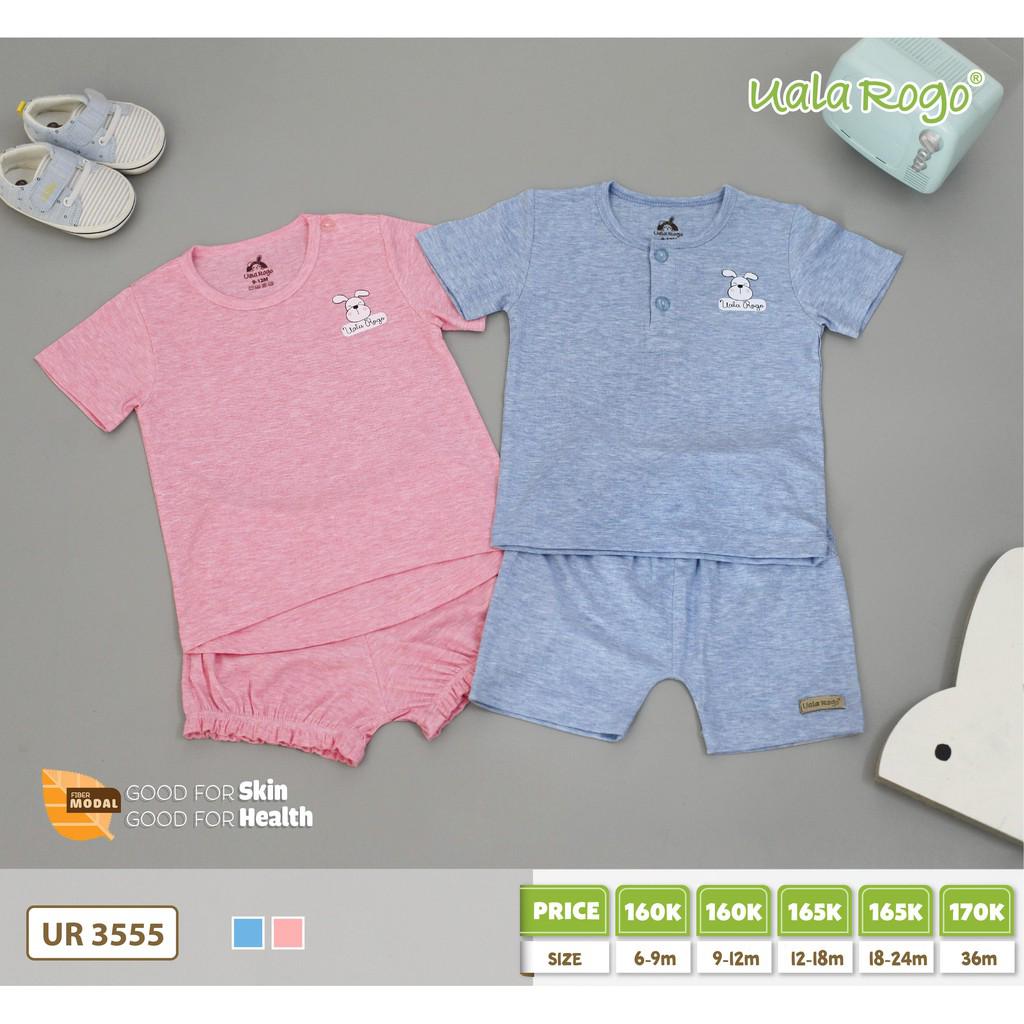 UR3555.1 - Set cộc tay cho bé quần bo thun cài nút vai - Màu hồng