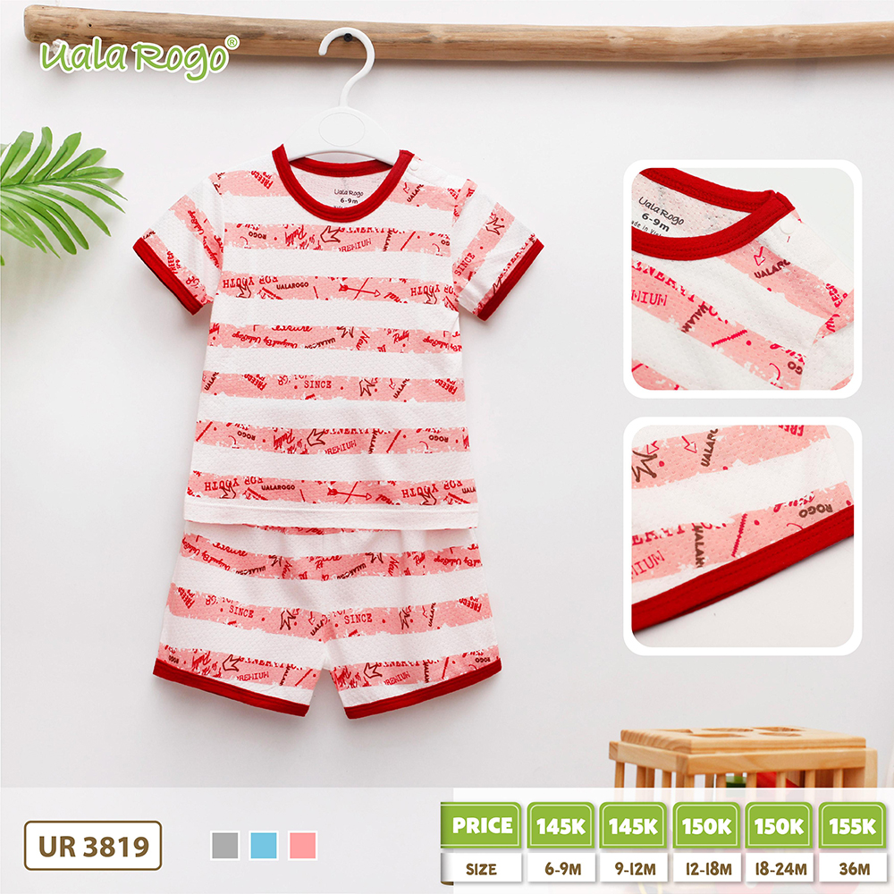 UR3819.2 - Bộ cộc tay cho bé vải cotton Uala Rogo - Đỏ