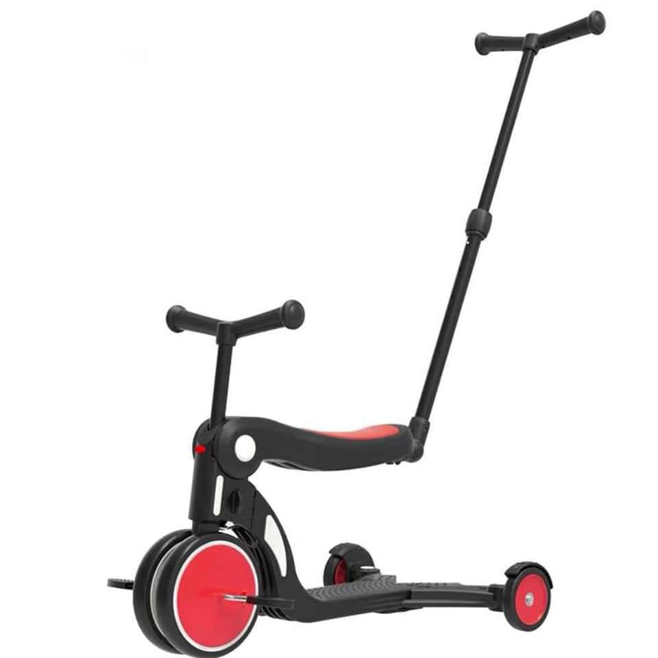 Xe chòi chân, xe 3 bánh - xe cân bằng Joovy kiêm Scooter đa năng 5 trong 1 - N5 Màu đỏ (có cần đẩy)