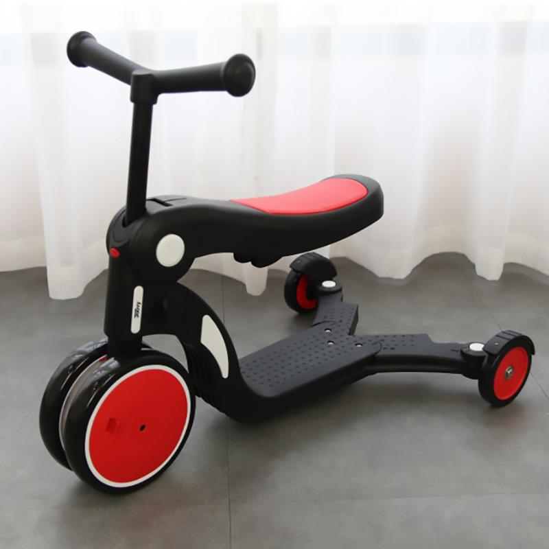 Xe chòi chân, xe 3 bánh - xe cân bằng Joovy kiêm Scooter đa năng 5 trong 1 - N5 Màu đỏ (không có cần đẩy)