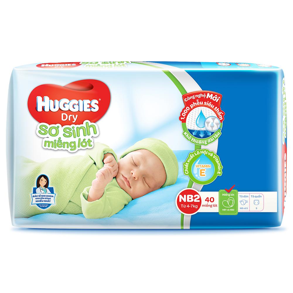 Bỉm - Miếng lót sơ sinh Huggies size NB2 - 40 miếng (Cho trẻ 4 - 7kg)