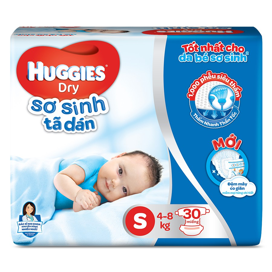 Bỉm - Tã dán sơ sinh Huggies size S - 30 miếng (Cho trẻ 4 - 8kg)