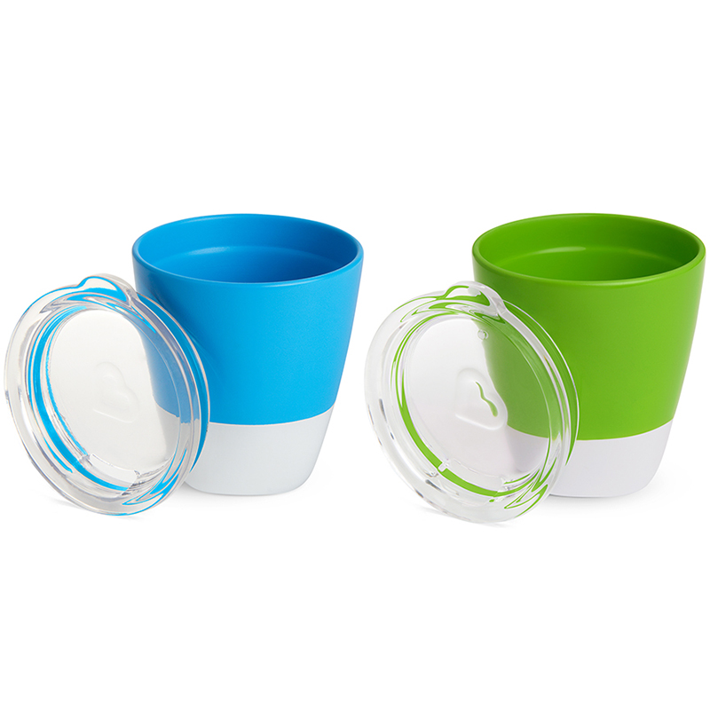 Bộ 2 cốc có nắp Munchkin 207ml màu xanh lá + xanh dương
