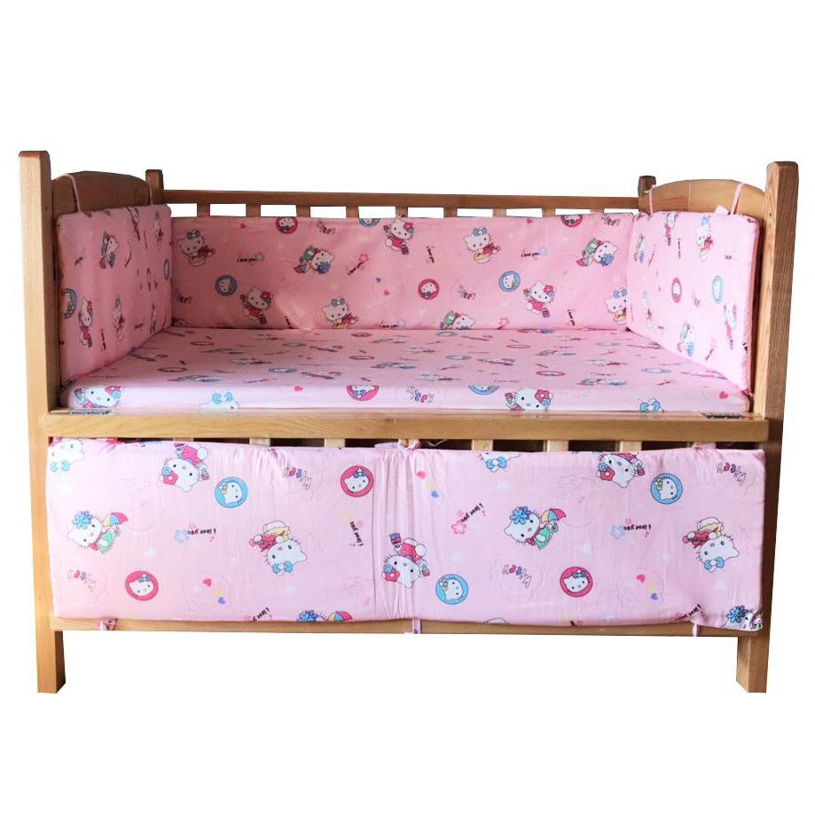 Bộ quây cũi và ga vải bọc đệm cho bé - Chất liệu thô lụa (Hồng kitty, 75x120)