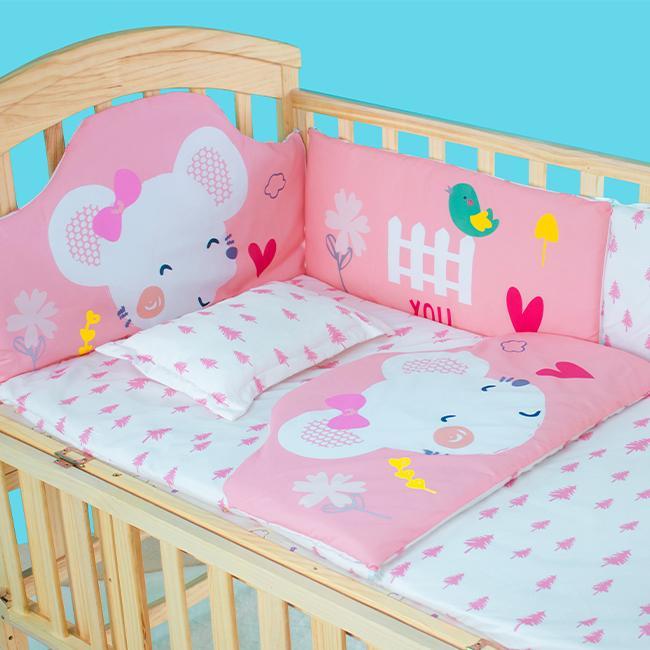 Bộ quây đệm Cotton lót nôi cũi cho bé Chilux - Quây chuột hồng