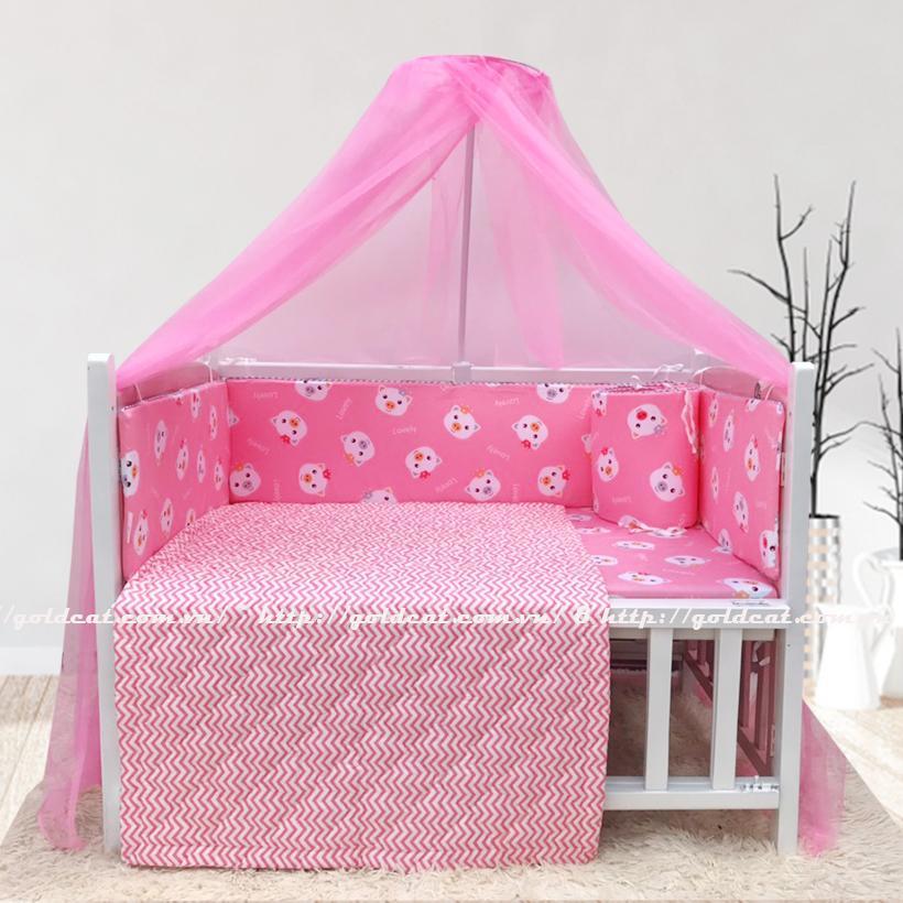 Combo cũi giường sơn Trắng Hồng GoldCat (Heo Hồng, Không bánh xe)