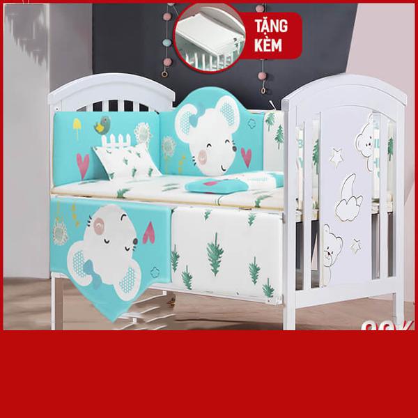 Nôi cũi em bé đa năng Chilux – NCT01-3 (Cũi + quây đệm Cotton)