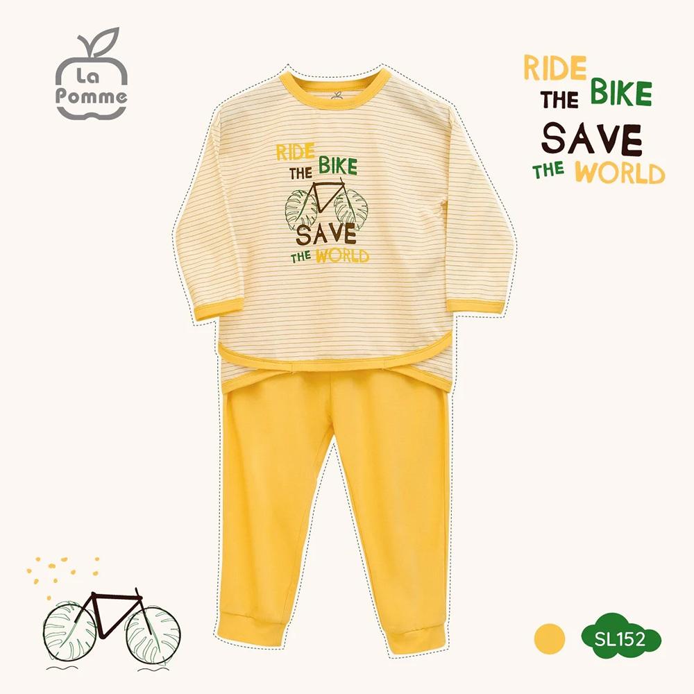 SL152 - Bộ quần áo dài tay Cotton La Pomme in hình Xe Đạp - Vàng