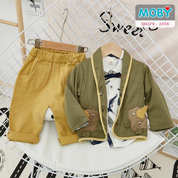 SN379 - Set áo vest, áo sơ mi & quần cho bé