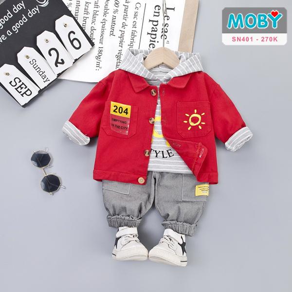 SN401 - Set áo khoác, áo thun có mũ & quần cho bé