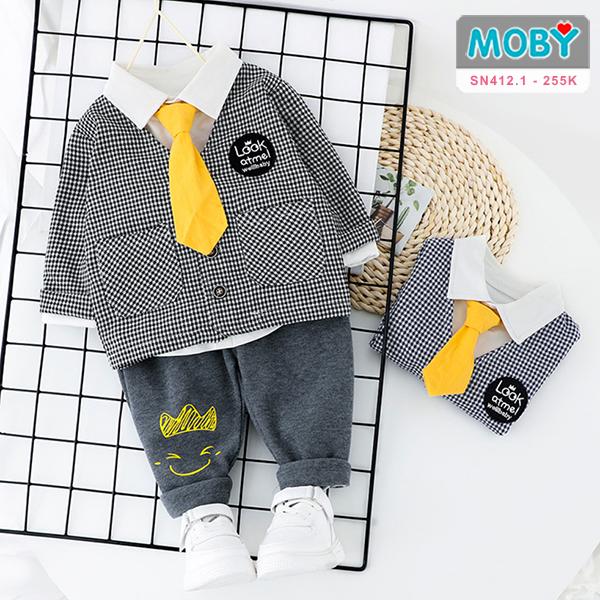 SN412.1 - Set áo khoác, áo sơ mi, nơ & quần cho bé