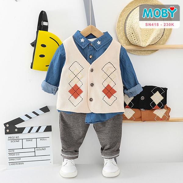 SN418 - Set áo sơ mi, áo ghi lê & quần cho bé