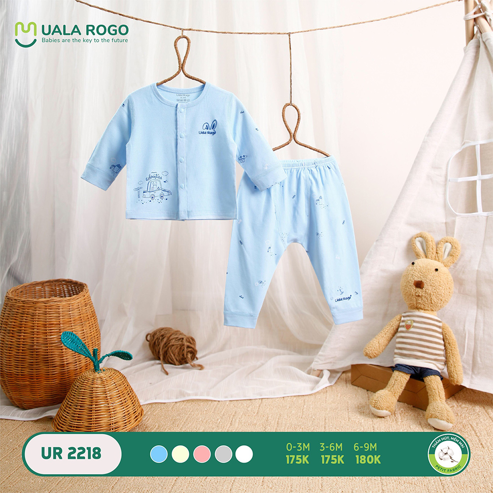 UR2218.2 - Bộ dài tay cài giữa vải petit Uala Rogo - Màu xanh