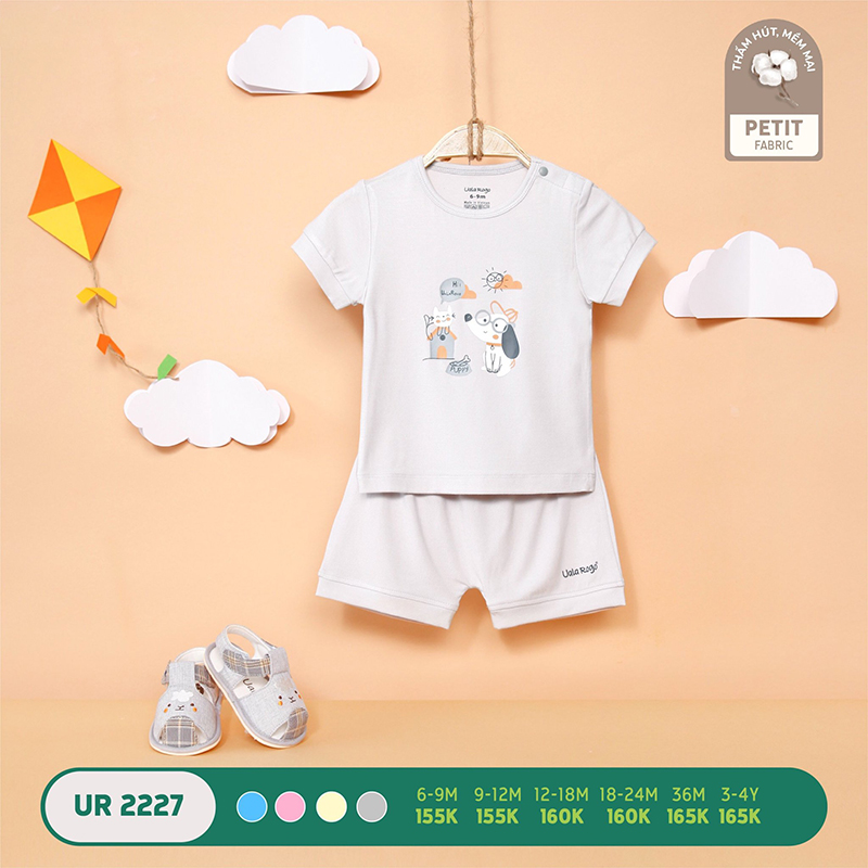 UR2227.2 - Bộ quần áo Uala Rogo cộc tay in hình bé cún vải petit - Màu xám