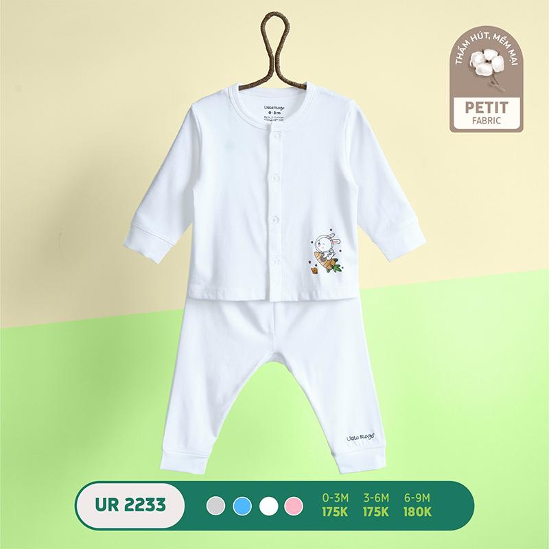 UR2233.2 - Bộ quần áo Uala Rogo dài tay cài giữa vải petit - Màu trắng