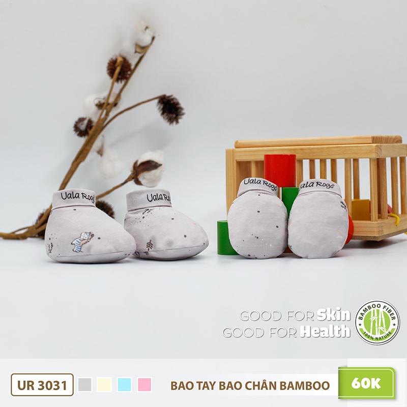 UR3031.1 - Bao tay bao chân sơ sinh Uala Rogo vải sợi tre - Màu Ghi