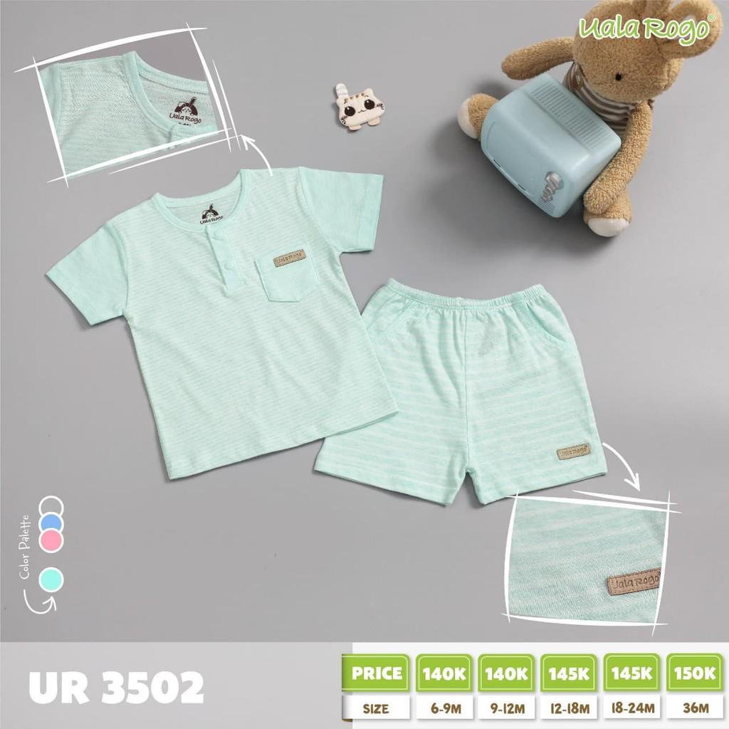 UR3555.2 - Set cộc tay cho bé quần bo thun cài nút vai - Màu xanh