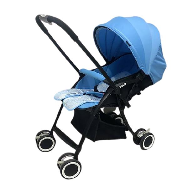 Xe đẩy em bé 2 chiều gấp gọn Vovo màu xanh