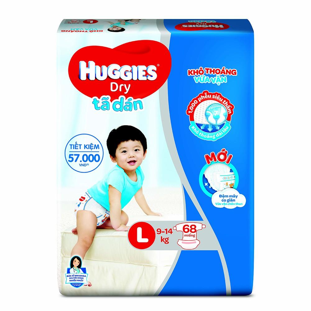 Bỉm - Tã dán Huggies size L - 68 miếng (Cho bé 9 - 14kg)