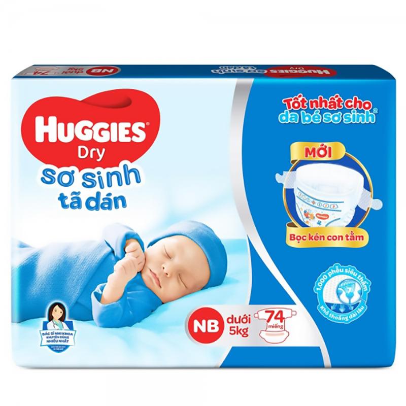 Bỉm - Tã dán sơ sinh Huggies size NB - 74 miếng (Cho trẻ dưới 5kg)