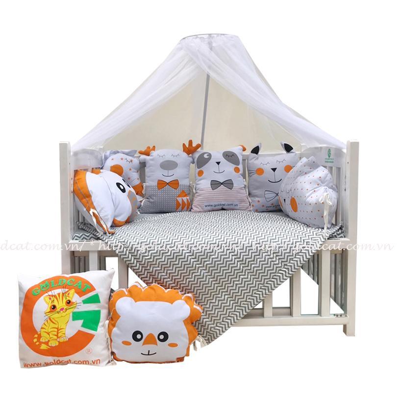 Combo cũi giường Gối Quây Thú (Cam, Không bánh xe)