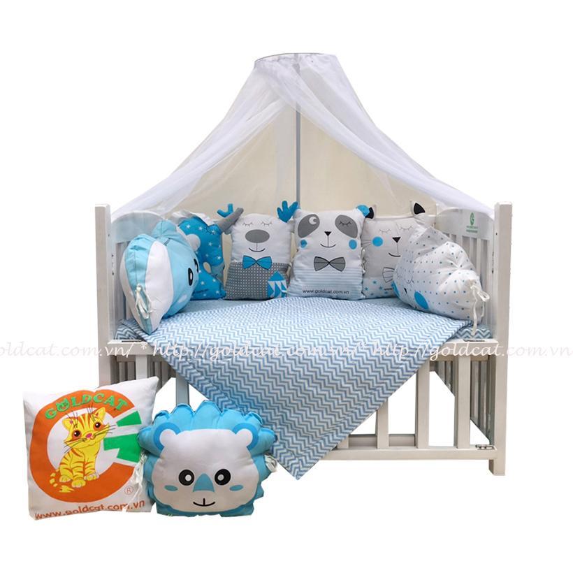 Combo cũi giường Gối Quây Thú (Xanh, Không bánh xe)