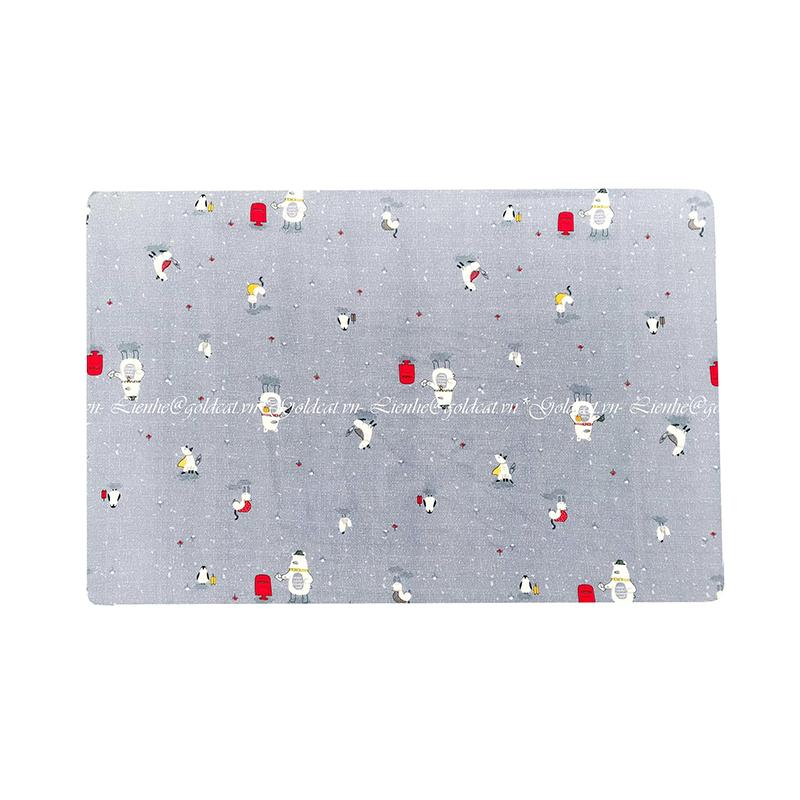 Ga vải bọc đệm cũi cho bé- Chất liệu Thô lụa (62x100, Nhiều con vật)