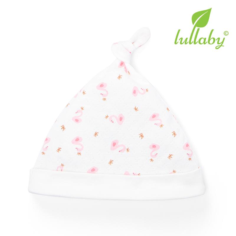NH62B.4 - Mũ thắt nút Lullaby màu trắng họa tiết vịt hồng