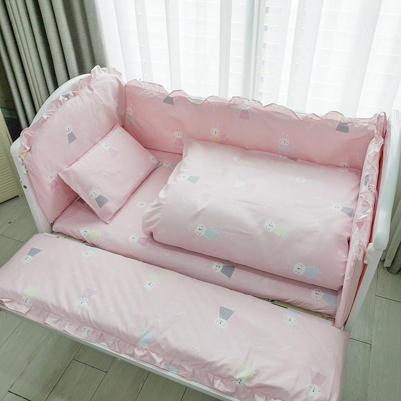 Set quây cũi vải Umoo 9 món cao cấp - Thỏ hồng