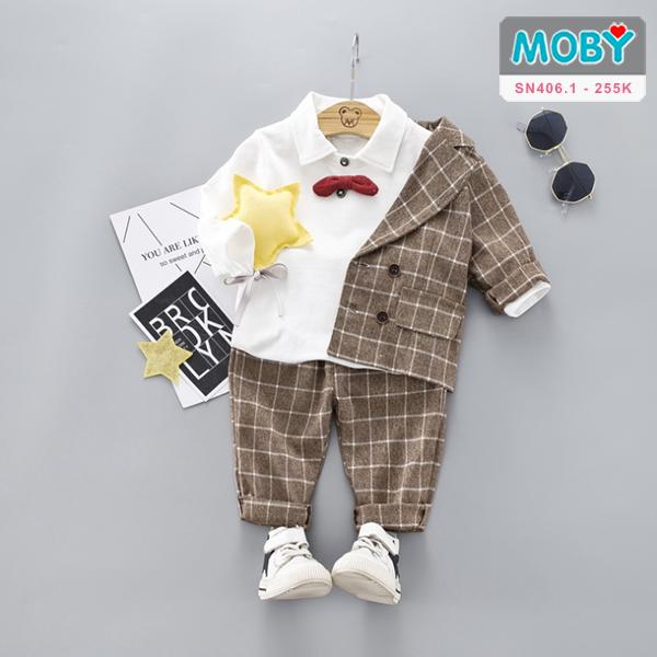 SN406.1 - Set áo vest, áo thun có cổ kèm nơ & quần cho bé