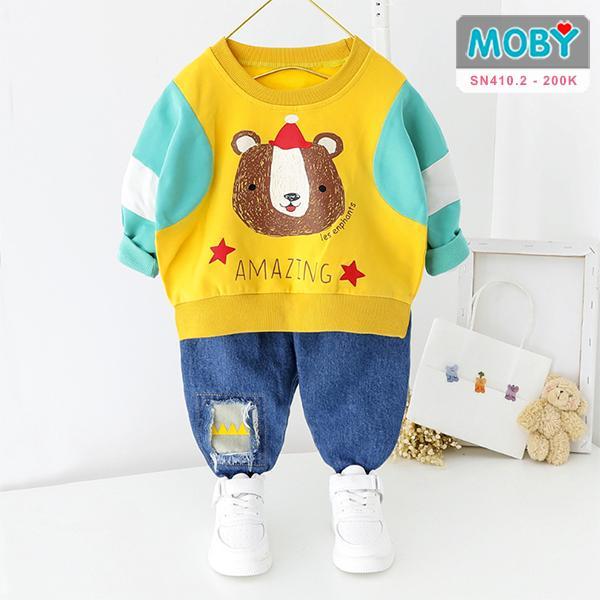 SN410.2 - Set áo gấu & quần jean cho bé